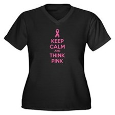 Keep calm and think pink Women's Plus Size V-Neck