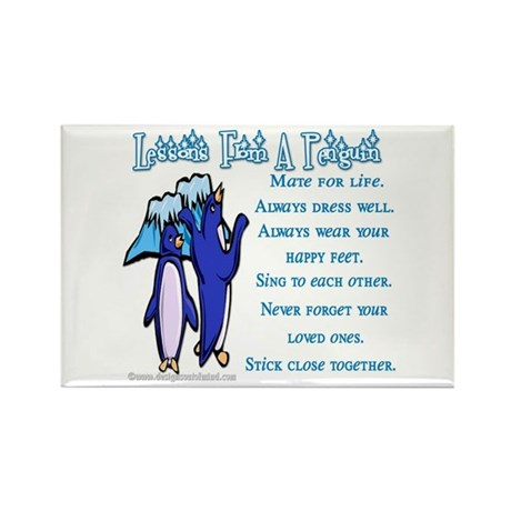 Lessons from a penguin Rectangle Magnet (100 pack)