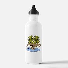 T rex on beach Water Bottle