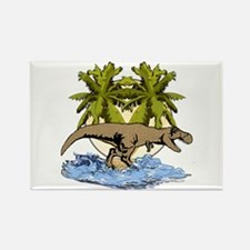T rex on beach Rectangle Magnet