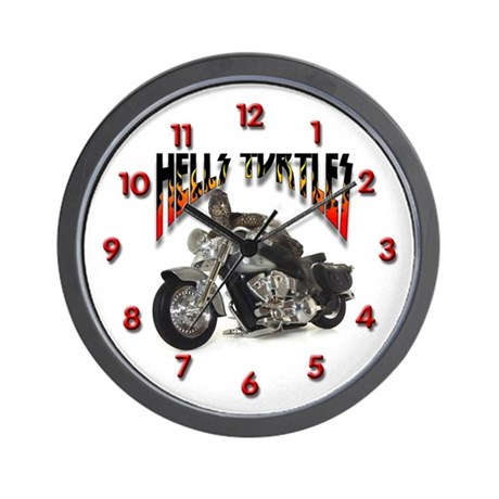 Biker Turtle Wall Clock