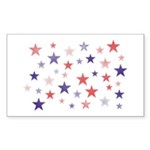 Red and Blue Stars Rectangle Sticker