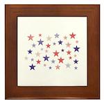Red and Blue Stars Framed Tile
