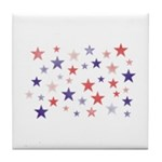 Red and Blue Stars Tile Coaster