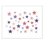 Red and Blue Stars Small Poster