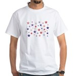 Red and Blue Stars White T-Shirt