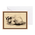 Domestic Cat Ink Drawing Greeting Cards (Pk of 10)