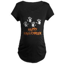 Twin Handprints Halloween Maternity T-Shirt