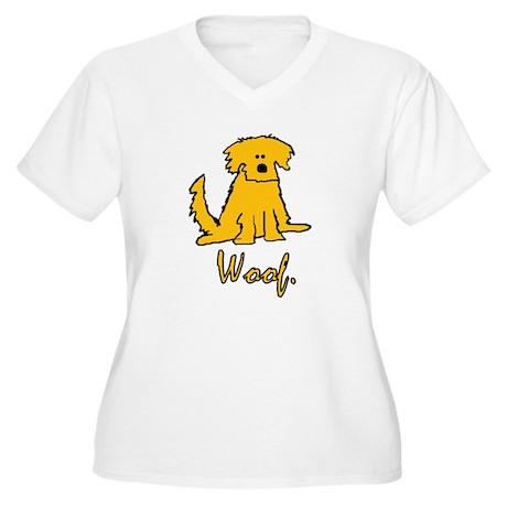Yellow Scruffy Dog Woof Women 39 S Plus Size V Neck T Shirt