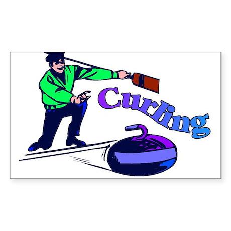curling.jpg Sticker (Rectangle)