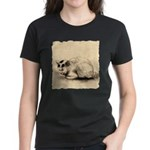 Domestic Cat Japanese Ink Drawing Women's Dark T-S