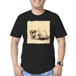 Domestic Cat Japanese Ink Drawing Men's Fitted T-S