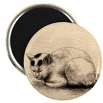 Domestic Cat Japanese Ink Drawing Magnet