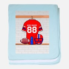 Personalized grid Iron Football jersey baby blanke