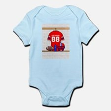 Personalized grid Iron Football jersey Onesie