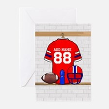 Personalized grid Iron Football jersey Greeting Ca