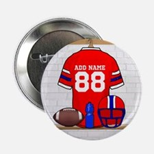 """Personalized grid Iron Football jersey 2.25"""" Butto"""