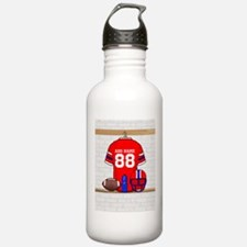 Personalized grid Iron Football jersey Water Bottle