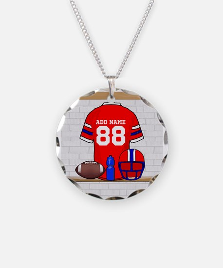 Personalized grid Iron Football jersey Necklace Ci