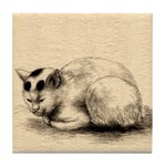 Domestic Cat Japanese Ink Drawing Tile Coaster