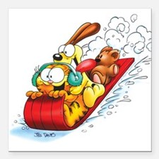 "Sledding Fun! Square Car Magnet 3"" x 3"""