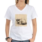 Domestic Cat Japanese Ink Drawing Women's V-Neck T