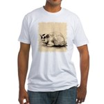 Domestic Cat Japanese Ink Drawing Fitted T-Shirt