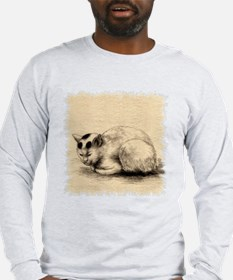 Domestic Cat Japanese Ink Drawing Long Sleeve T-Sh