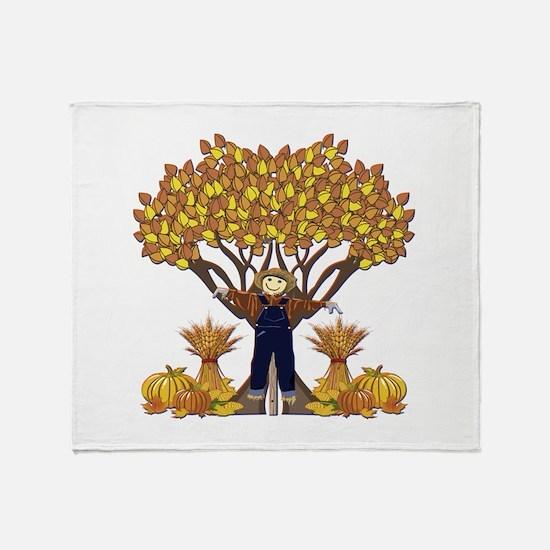 Autumn Scarecrow Throw Blanket