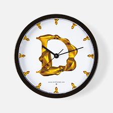 Blown Gold D Wall Clock