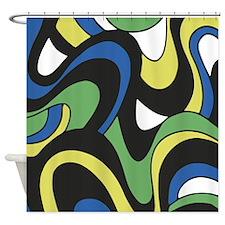 Blue Green Yellow Swirls Shower Curtain