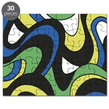Blue Green Yellow Swirls Puzzle