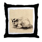 Domestic Cat Japanese Ink Drawing Throw Pillow