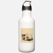 Domestic Cat Japanese Ink Drawing Water Bottle