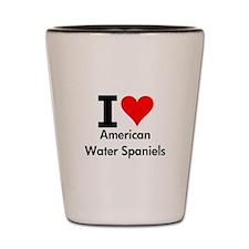 I Love American Water Spaniels Shot Glass