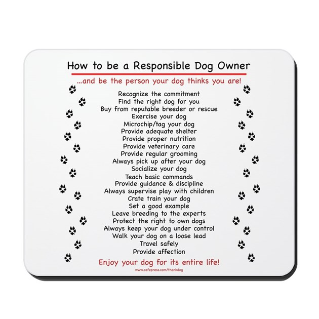 Responsible Dog Owner Mousepad By Thankdog