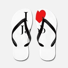 i love jacob Flip Flops