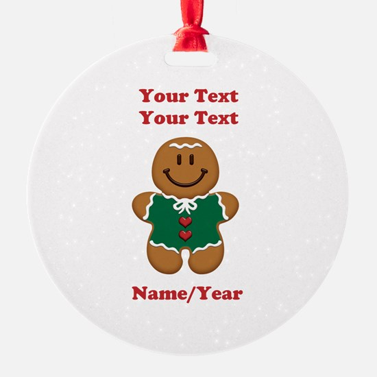 Personalize Gingerbread Baby [elf] Round Ornament