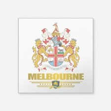 "Melbourne (Flag 10)2.png Square Sticker 3"" x 3"""