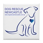 Dog Rescue Newcastle simple logo 2 Tile Coaster