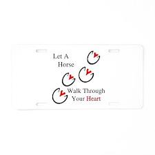 Horse Hoof Hearts Aluminum License Plate