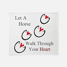 Horse Hoof Hearts Throw Blanket