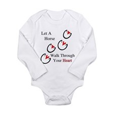 Horse Hoof Hearts Long Sleeve Infant Bodysuit