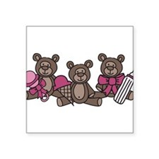 "Bear Triplets Square Sticker 3"" x 3"""