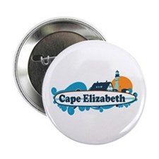 """Cape Elizabeth ME - Surf Design. 2.25"""" Button"""
