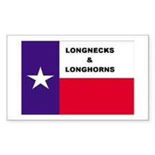 Texas Longnecks & Longhorns Rectangle Decal