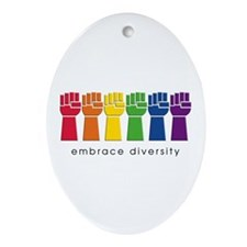 gay pride fist's Ornament (Oval)