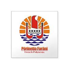 "French Polynesia COA.png Square Sticker 3"" x 3"""