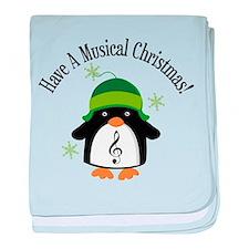 Musical Christmas Penguin Gift baby blanket
