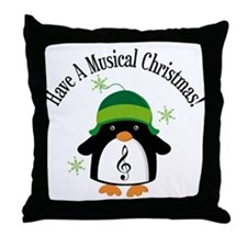 Musical Christmas Penguin Gift Throw Pillow